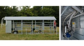 Mobile milking parlour MOOTECH-4 with receiving jar and equipment cabinet